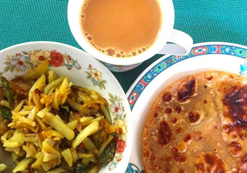 Rootsandleisure_Paratha and aloo with tea